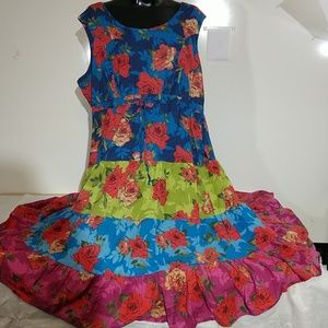 Woman Within Maxi Tiered Floral Print Dress 3xl